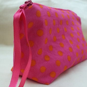 Make up bag, Pink Cosmetic Bag uk,  Pink make up bag, Polka Dot Make Up Bag UK seller,