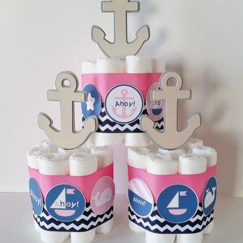 Nautical Girl Baby Shower Centerpieces, Nautical Diaper Cakes, Pink and Navy Anchor Mini Diaper Cakes, Baby Girl Shower Decor, It's A Girl