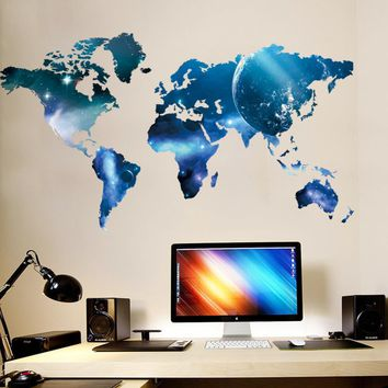 Big Global Planet World Oil Paintings Map Wall Sticker