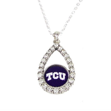 Texas Christian Horned Frogs NCAA Teardrop Clear Crystal Silver Necklace