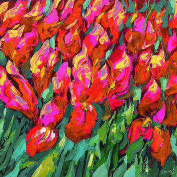 Red Irises - OIL PALETTE KNIFE Painting on canvas by Dmitry Spiros. 32x32 in. (80 x 80 cm)