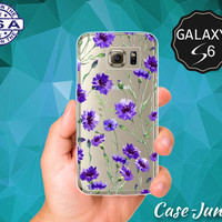 Purple Flower Pattern Vintage Floral Wallpaper Cute Tumblr Case for Clear Rubber Samsung Galaxy S6 and Samsung Galaxy S6 Edge Clear Cover