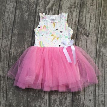 new arrivals summer baby girls kids boutique clothes pink unicorn bow lace sleeveless bow cotton princess dress ball gown cotton