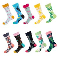 10 Pairs/Lot Men's Socks Fashion Funny Colorful Flamingo Long Socks Combed Cotton Happy Wedding Socks Casual Business Dress Sock