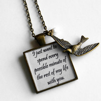 Hunger Games SPECIAL Debut- Peeta and Katniss Quote Pendant Necklace- I just want to spend every possible minute of the rest of my life