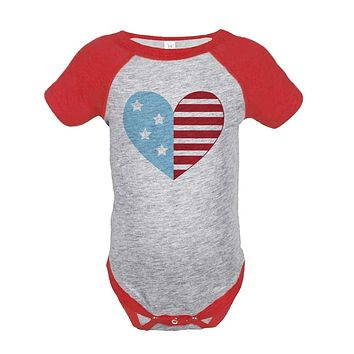 Custom Party Shop Flag Heart 4th of July Raglan Onepiece