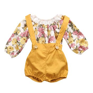 Newborn Baby Girls Princess Floral Long Sleeve Romper+ Suspenders Short Pants Jumpsuit Sunsuit Clothes