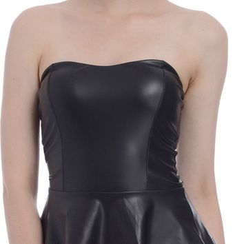 Strapless Black Faux Leather Bustier Peplum Top
