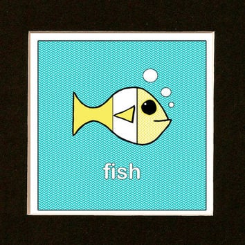 Yellow Nursery Art - Yellow Chevron Fish - Beach Cottage Decor - Sea Life Print - Ocean Decor