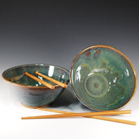 Chopstick/Rice BowlsSet of 2in Sea Green by CarolBroadleyPottery