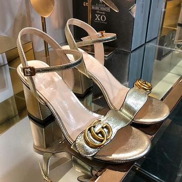 GUCCI Popular Women Princess High Heels High-Heeled Shoes Sandals Golden I-OMDP-GD