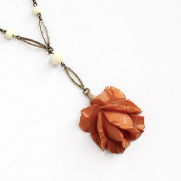 Vintage Carved Bakelite Rose Necklace - 1930s Art Deco Brass Chain Butterscotch Brown Orange Flower Charm Jewelry Hallmarked Germany