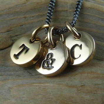 "Initial Necklace - Three Bronze Letter Charms on 18"" Gunmetal Chain - Initial Charm Necklace"