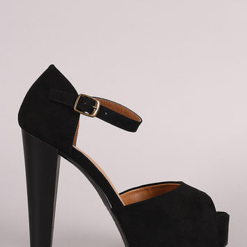 Bamboo Peep-Toe One Band Counter Platform Heel