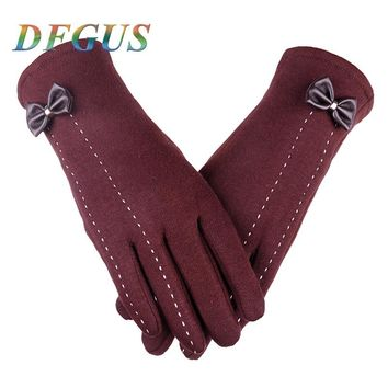 2017 Fashion Women's Bowknot Winter Gloves Touch Screen Gloves Warm Cotton Driving Ridding Gloves Mittens Eldiven Female Gloves