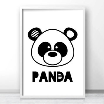 Panda Nursery Wall Art Printable, Animal Nursery Print, Panda Bear Kids Art Print, Black White Nursery Decor, Kids Print, Baby Animal Print
