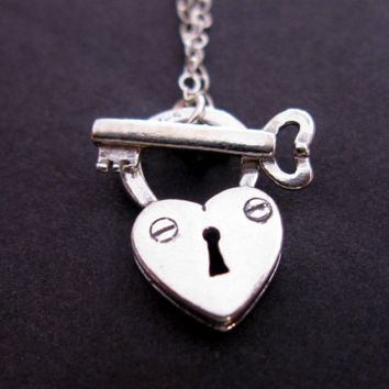 Sterling Silver Lock and Key padlock toggle necklace chain pendant