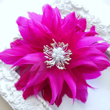 Prom Hair Flower, Bridal Feather Hair Flower, Wedding Hair Accessory, Fuschia, Hot Pink, Pink, Feather Fascinator