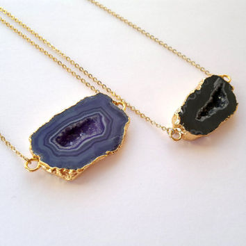 Druzy Geode Necklace Blue Black Window Druzy Pendant Gold Edge Gold Dipped Jewerly Geode Slice Jewelry Mineral Necklace Drusy Blue Stone