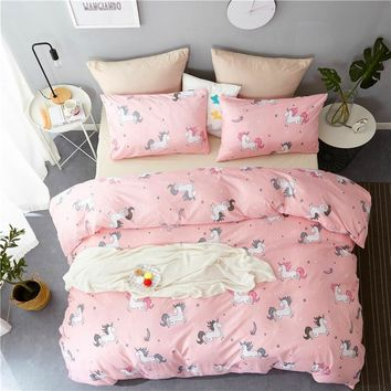 Pink Unicorn Designs Bedding Set Cute Flamingo Forest Duvet Cover Set Pillowcases Bed Linen Set Twin Full Queen King Covers
