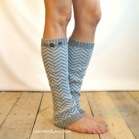 Chevron Crest : LIGHT Grey Chevron Leg Warmers w/ Assorted Metal Military Buttons - legwarmers (item no. 1-13)