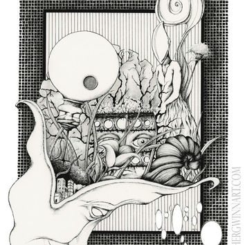 WILD MINDED: Pen and ink drawing, abstract and surreal artwork, black and white 8x10 Limited Edition Fine Art Print