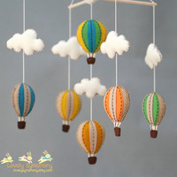 Vintage baby mobile - Muted colors baby crib mobile - vintage hot air balloons baby mobile