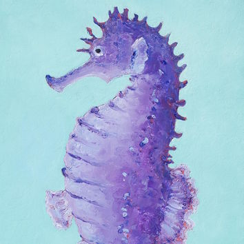 Seahorse Painting On Turquoise Background