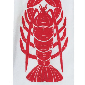 Two Lobster Flour Sack Dish Towels-Red