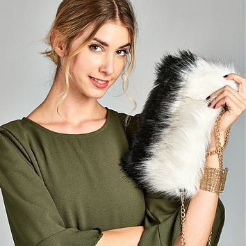 Two-Tone Faux Fur Purse