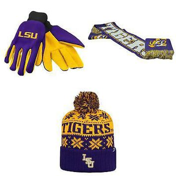 Licensed NCAA LSU Tigers Spirit Scarf Subartic Beanie Hat And Grip Work Glove 3Pk 44346 KO_19_1