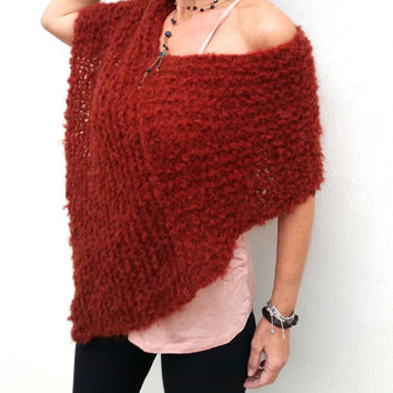 Marsala shawl, dark red wrap, women poncho, marsala poncho, marsala trends, mohair wrap, knit marsala poncho, dark red shawl, spring trends