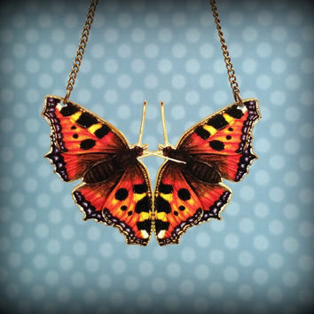 Butterfly Necklace - Butterfly Kisses - Plastic Butterfly Necklace - Butterfly Bib Necklace - Orange Black - Free Spirit - Spring Necklace