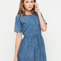 Motel Penny Babydoll Dress in Acid Wash Denim