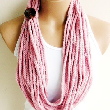 Eco Friendly lnfinity Scarf,Natural Crochet Chain Scarf,Necklace Cowl in Powder Pink