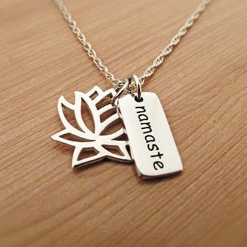 Lotus Namaste Necklace, Silver Necklace, Sterling Silver, Yoga Necklace, Om Ohm Jewelry, Lotus Charm Pendant, Namaste Charm Pendant