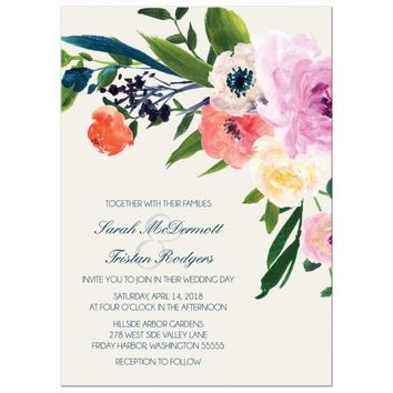 Wedding Invitations Watercolor Floral Boho Chic Flowers