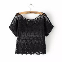 Floral Lace And Mesh Short-Sleeve Crop Tank Shirt