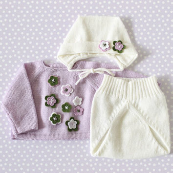 Knit baby set. Sweater, diaper cover, cap. Lilac, off white and green. Felt flowers. 100% Merino. READY TO SHIP size Preemie.
