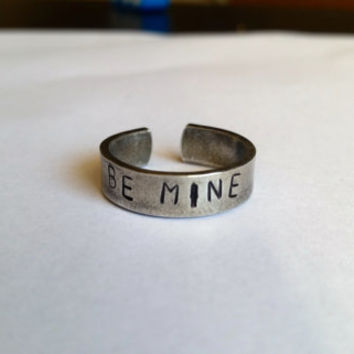 Be mine ring, Valentines ring, Valentine gift, Aluminium ring, Handstamped ring, custom ring, handstamped jewelry, custom ring, personalized