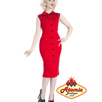 Voodoo Vixen Red Wavy Button Up Pencil Dress