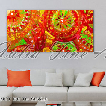 Abstract Print 48''Large Ethnic Orange Red Green Yellow Floral Folk Canvas by Julia Apostolova Geometric Figures