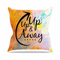 "Ebi Emporium ""Up Up & Away"" Orange Typography Throw Pillow"