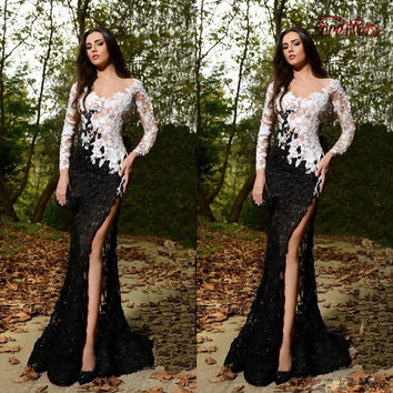 Black And White Sexy Ladies Evening Dresses Long Sleeve Lace Applique Designer Evening Gowns Side Slit Formal Evening Gowns ED20