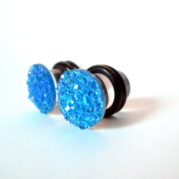 Cobalt Blue Sparkle Druzy Plugs - Available in 2g, 0g, and 00g