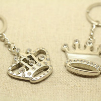 2pcs Free Engraving,  Imperial crown Keychain, couples keychain