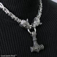 Large Reversible Thor's Hammer On Byzantine Design Chain Necklace with Snarling Wolf Head Ends