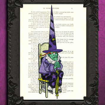 Wicked Witch art print on vintage dictionary page