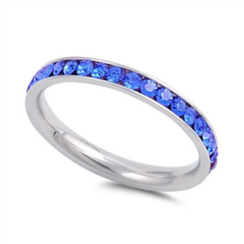 The Classic 2TCW Round Cut Blue Sapphire Russian Lab Diamond Wedding Band Eternity Ring