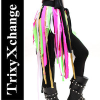 TRIXY XCHANGE - EDC Costume Recycled Skirt Upycled Skirt Glow in the Dark Clothing Hand Made Scrap Fringe Green Pink Black Bikini Coverup